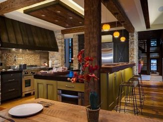 rustic-kitchen-decoration-ideas-with-sectional-oak-kitchen-island-feats-teak-pillar-overlooking-with-vintage-bar-stools